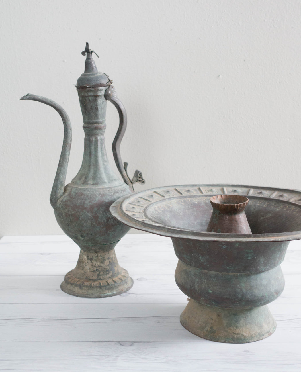Antique Egyptian Engraved Copper Brazier Basin and Pitcher Set