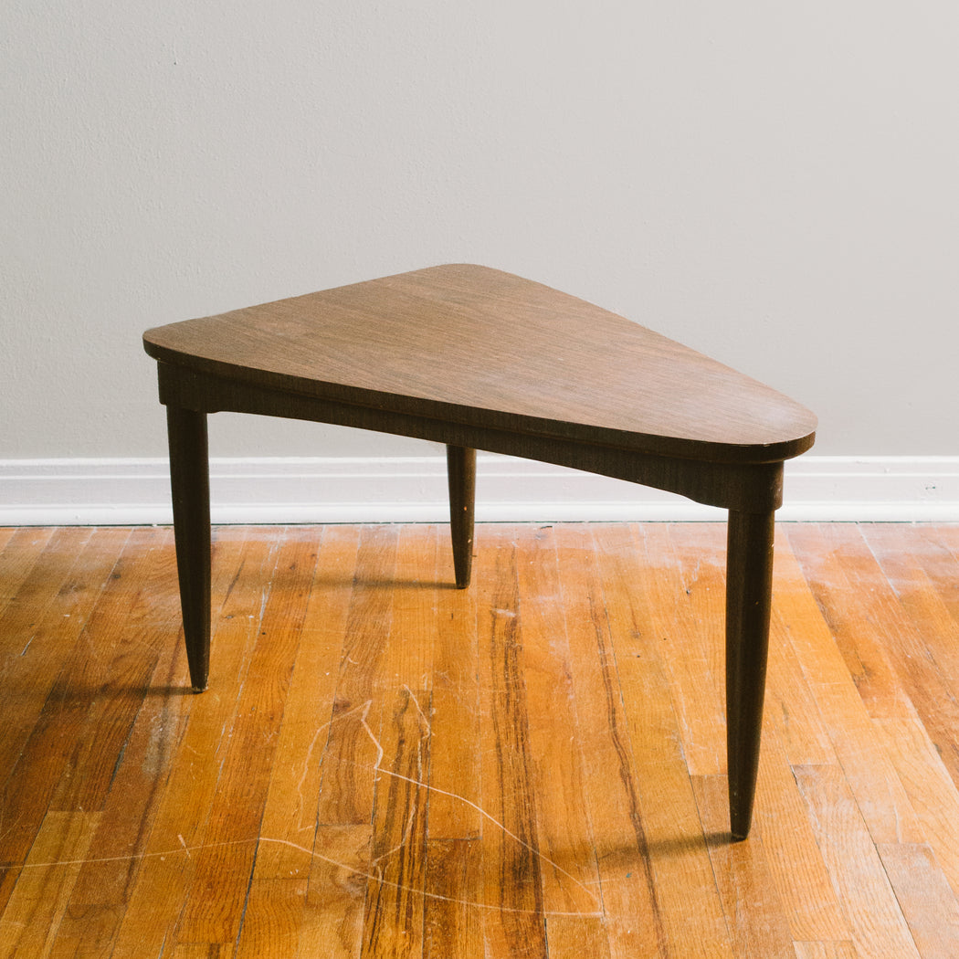 Mid Century Triangle End Table | Retro Tripod Side Table