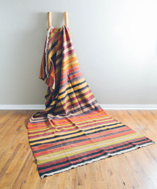 Large Vintage Turkish Kilim Rug | Striped Flat Weave Carpet
