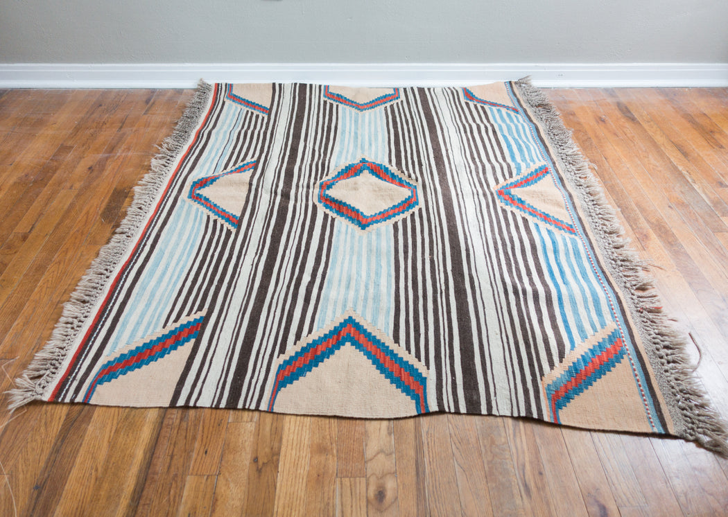 Medium Vintage Turkish Rug | Striped Kilim Carpet