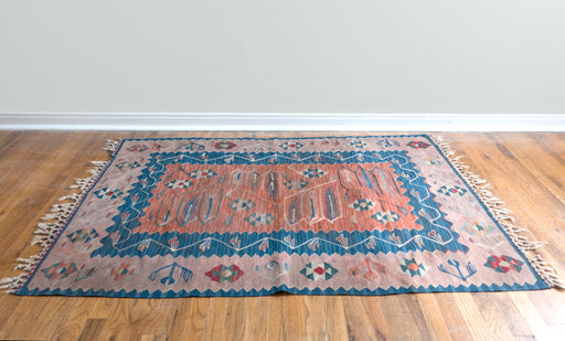 Medium Vintage Turkish Rug | Antique Floral Kilim Carpet