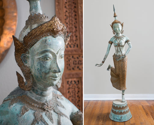 "Antique 56"" Bronze Thai Dancer Apsara Statue"