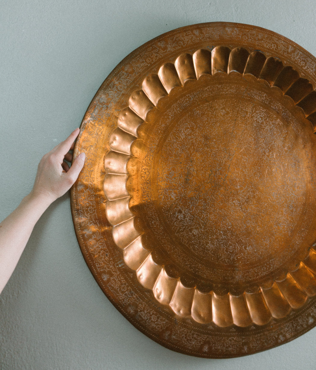 "Vintage 28"" Round Copper Serving Tray"