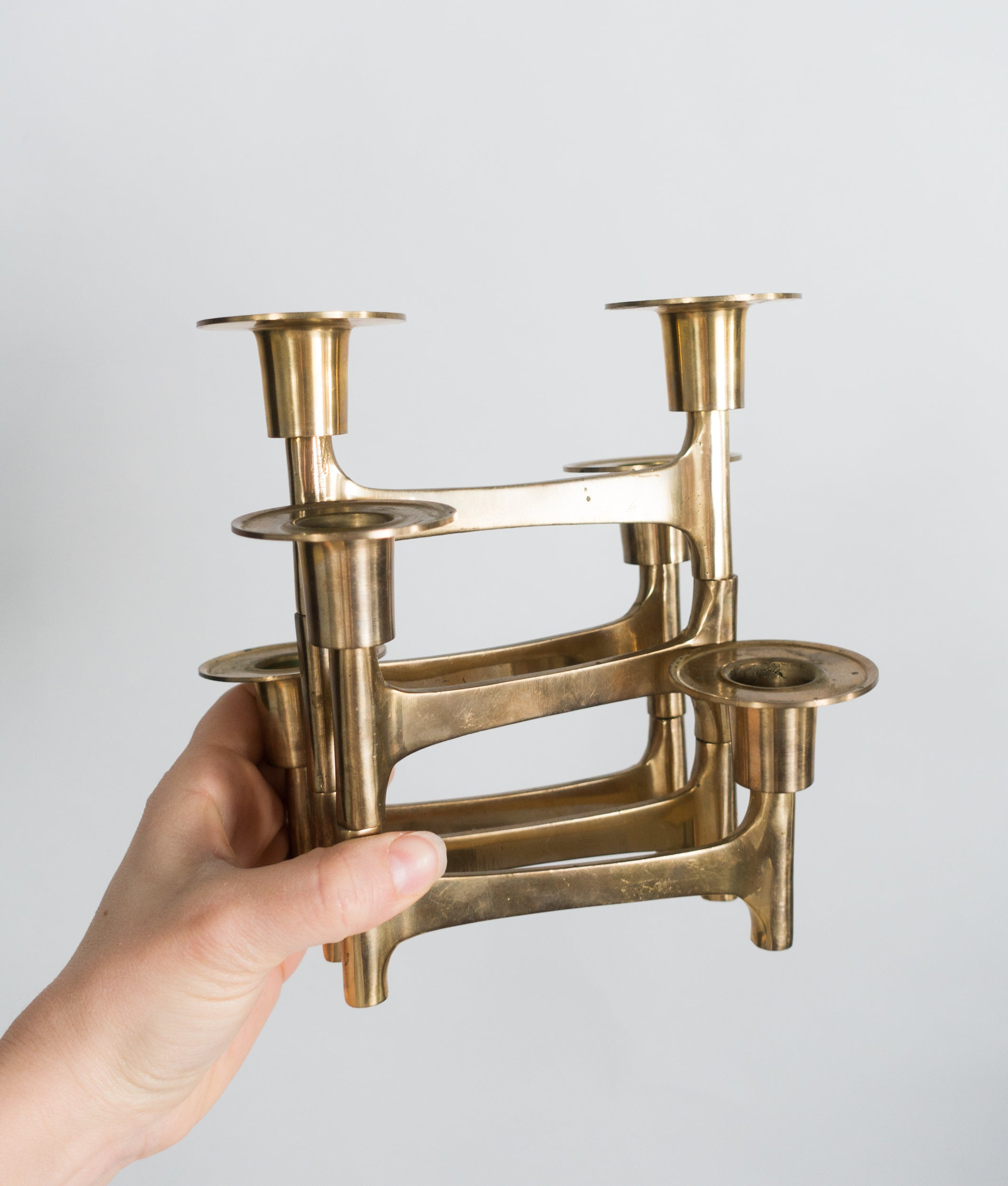 Mid Century Articulating Brass Candle Holder