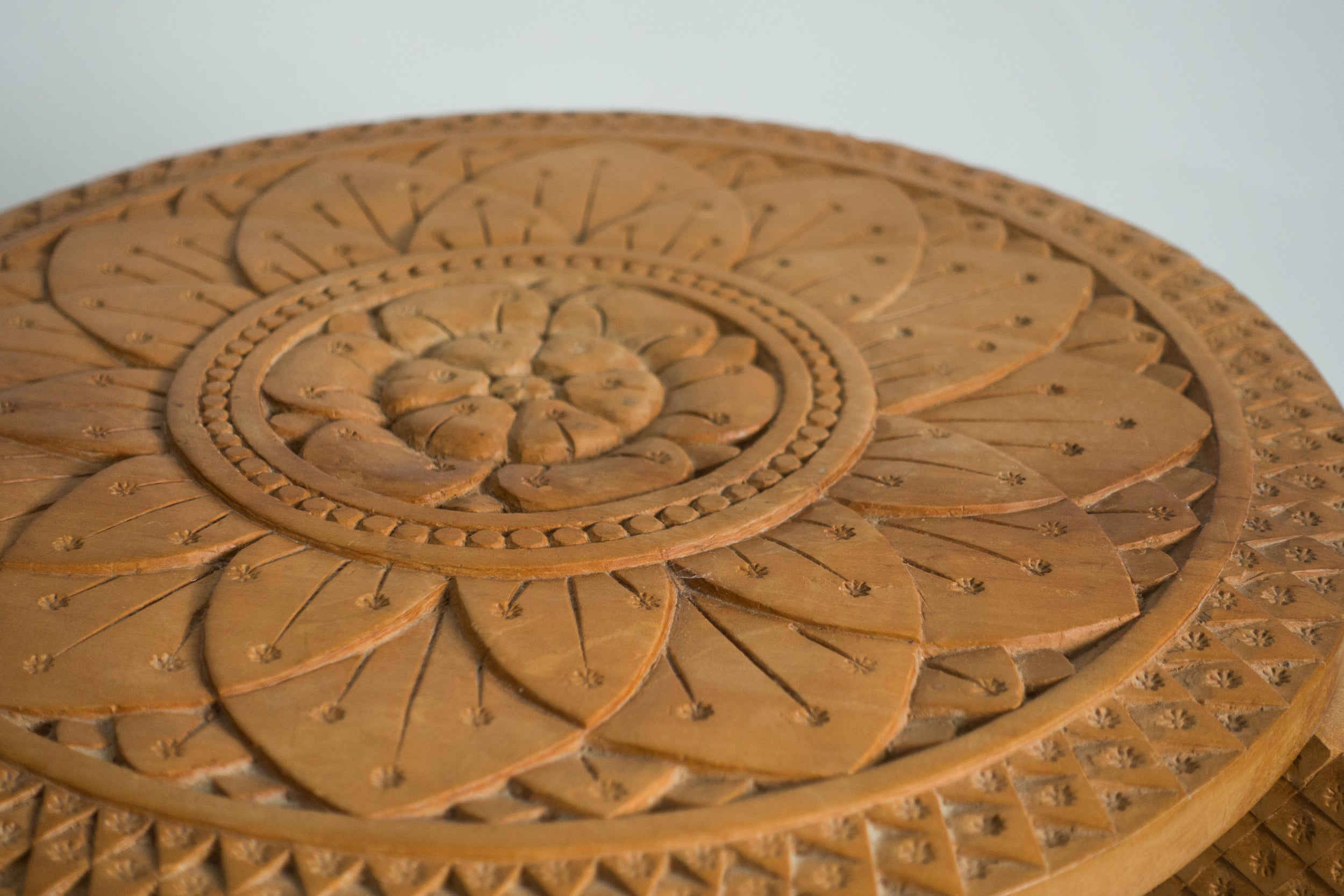 Vintage Carved Lotus Blossom Wooden Plant Stand