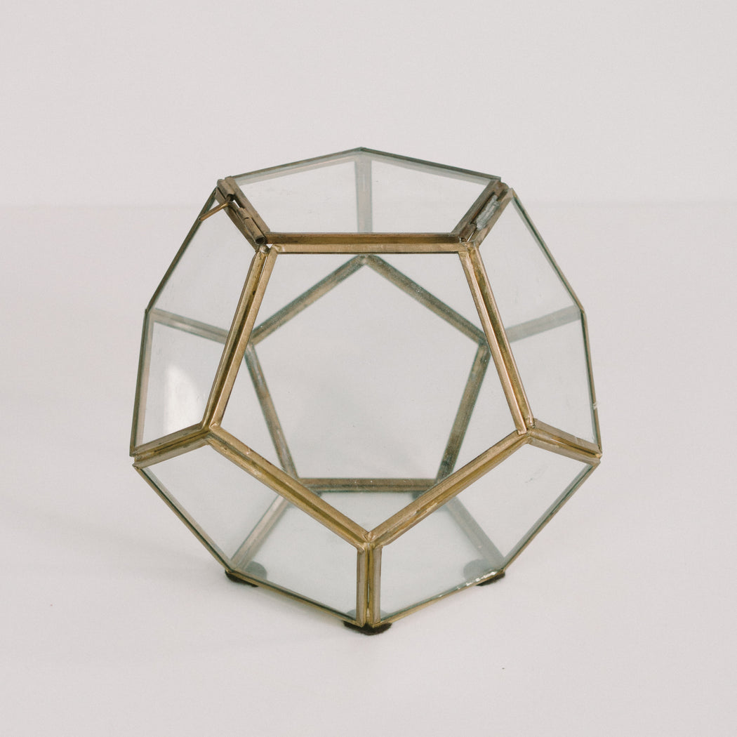 "7"" Vintage Glass Dodecahedron Display Box with Lid"