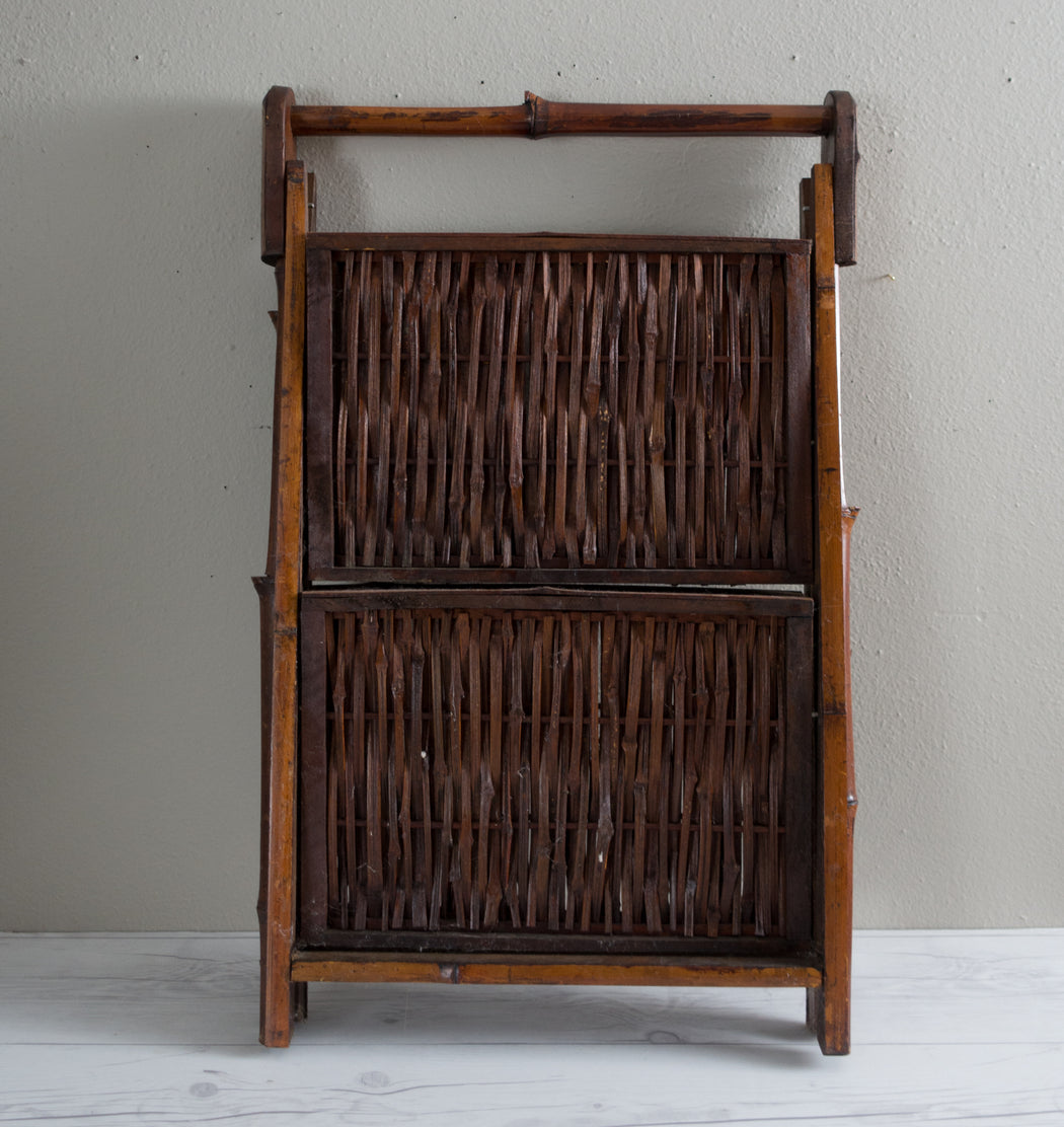 Vintage Two Tier Folding Bamboo Magazine Rack