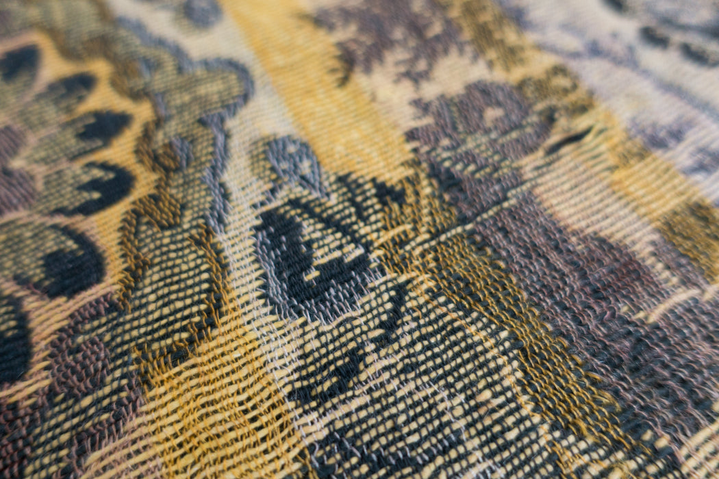 Antique Silk Brocade Horseman Tablecloth