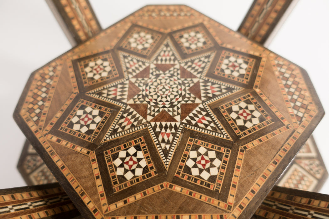 Vintage Syrian Inlay Side Table | Middle Eastern Marquetry Mosaic Game Table