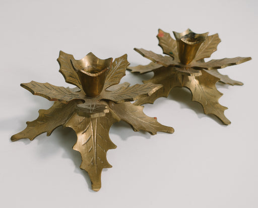 Vintage Brass Holly Candle Holders
