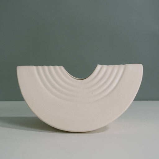 Vintage White Ceramic Slice Abstract Vase