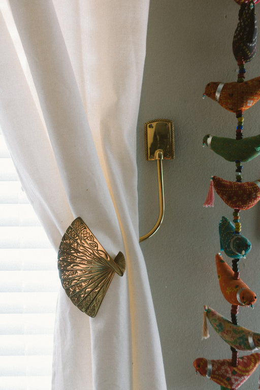 Vintage Brass Fan Curtain Tie Backs