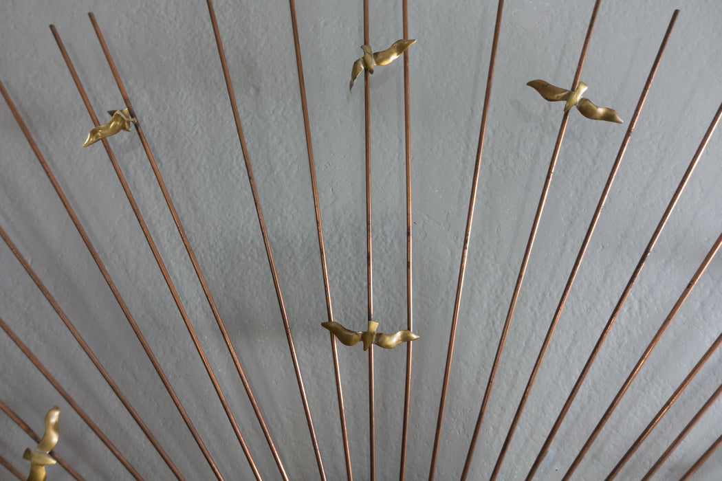Mid Century Brass and Copper Sunburst Wall Sculpture