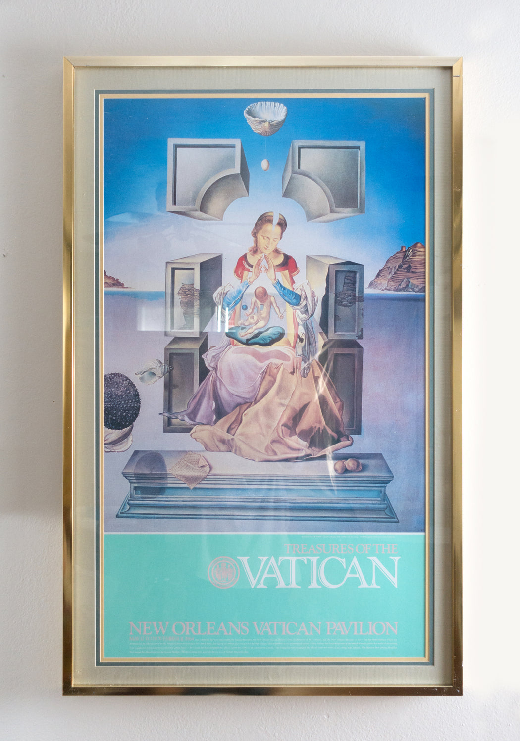 1984 Treasures of the Vatican New Orleans Exhibit Poster | Dali Madonna Framed Art