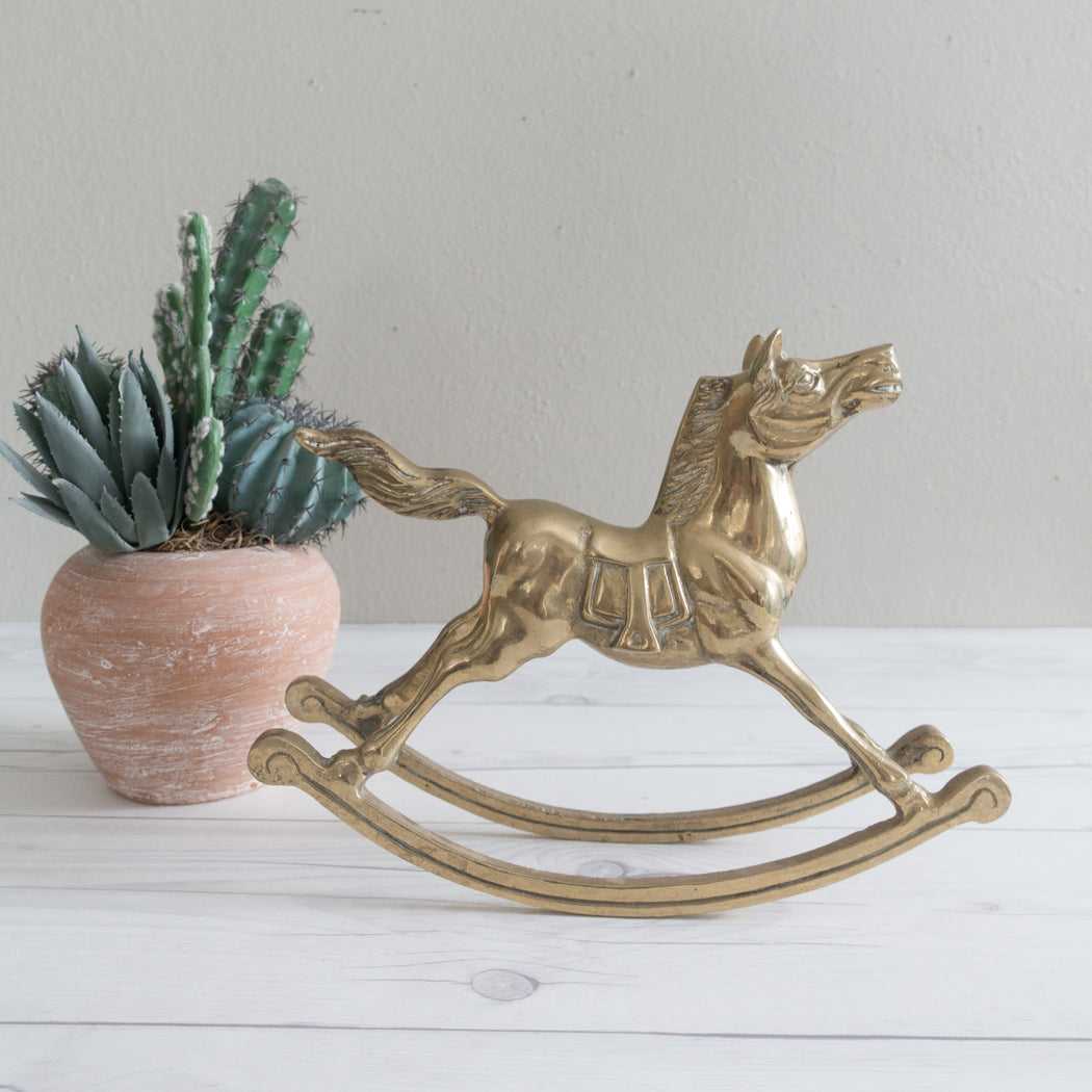 Large Vintage Brass Rocking Horse
