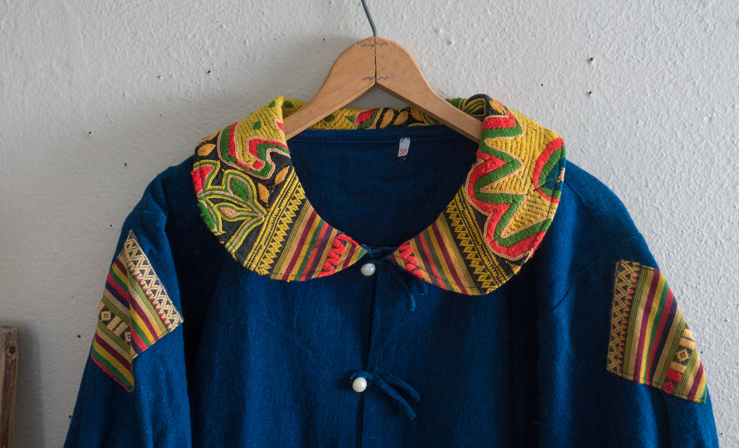 Thai Wing Sleeve Indigo Jacket with Vintage Fabric Details