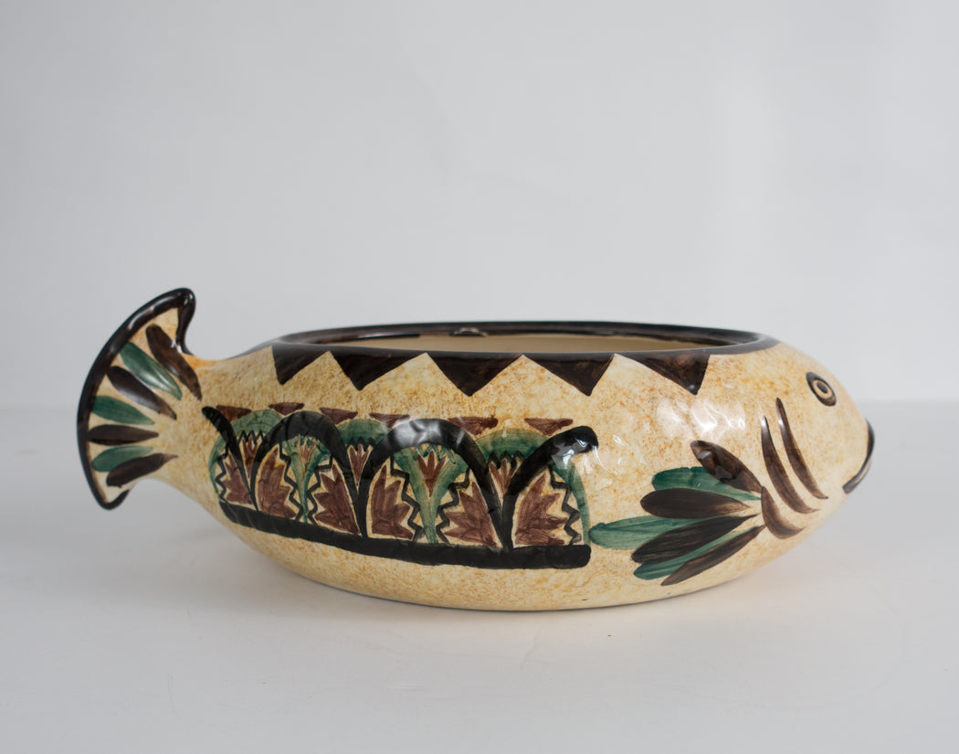 Vintage St Jean du Bretagne Fish Bowl | Ceramic Decor Maia Serving Bowl