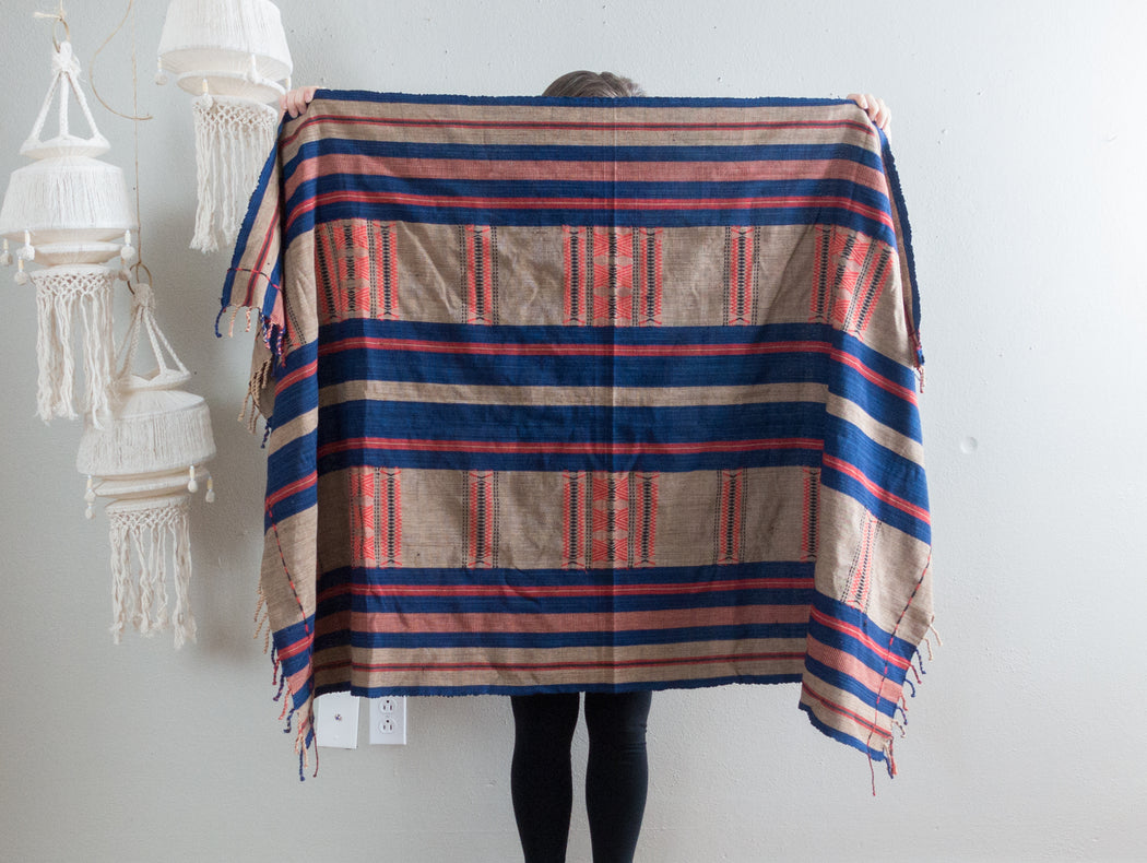 Vintage Embroidered Thai Hill Tribe Blue Shawl