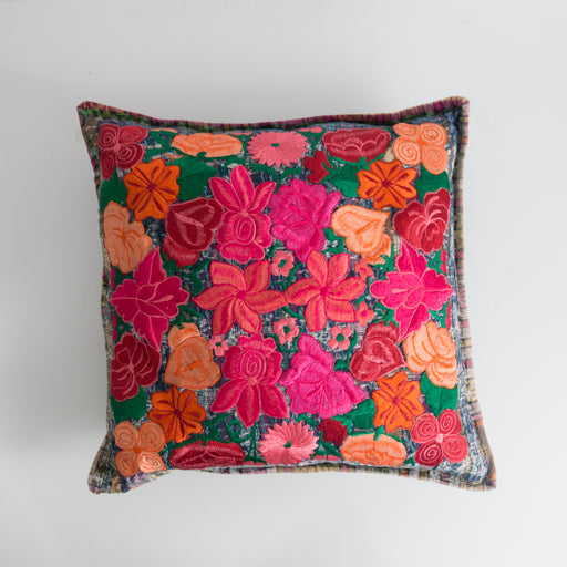 Vintage Guatemalan Huipil Embroidered Pillow