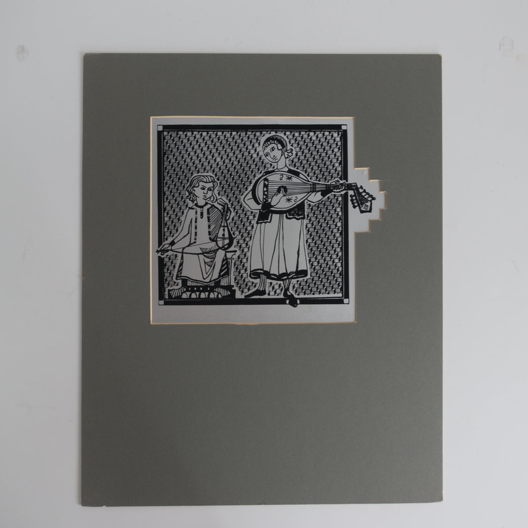 1984 Medieval Musicians Serigraph Black and Silver
