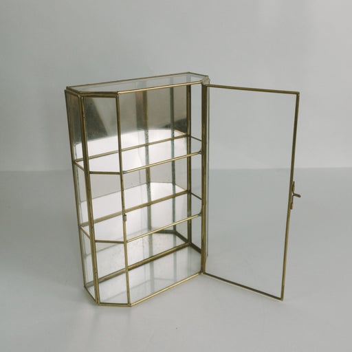"11"" Vintage Glass Curio Display Box Shelf"