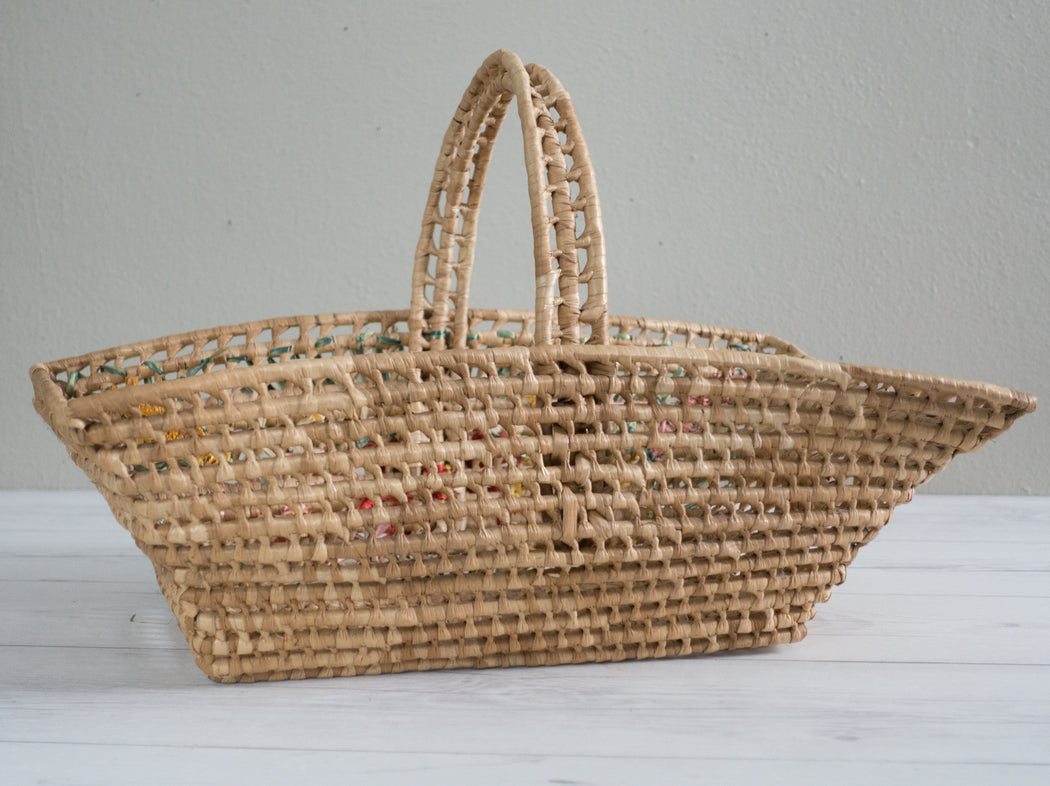 Vintage Straw Flower Basket