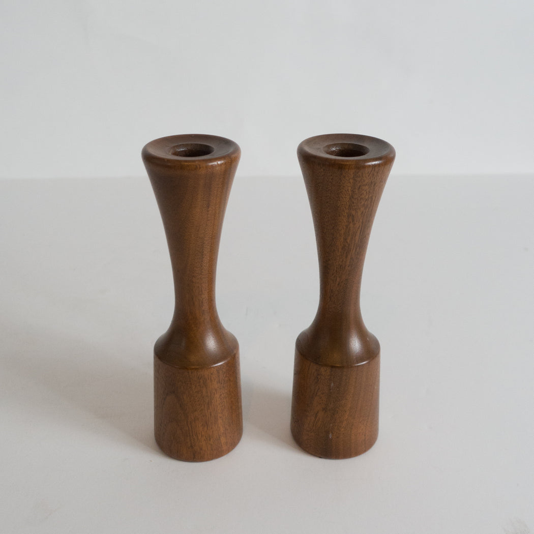 Danish Modern Double Sided Turned Wood Candlesticks