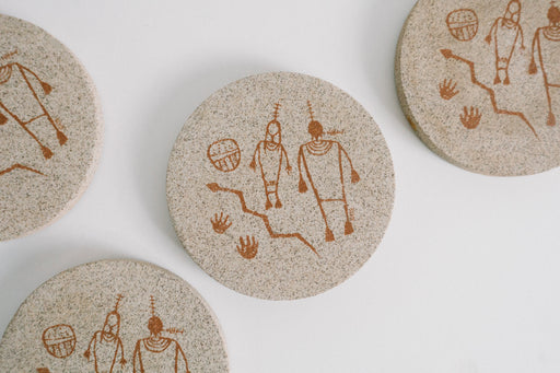 Vintage Petroglyph Ancient Rock Art Coaster Set