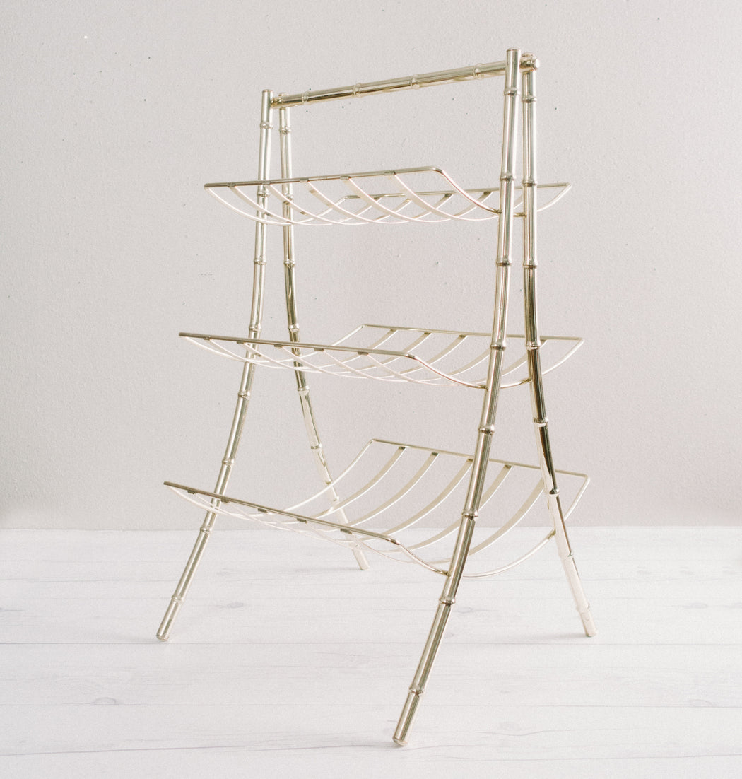 Vintage Three Level Gold Bamboo Magazine Rack