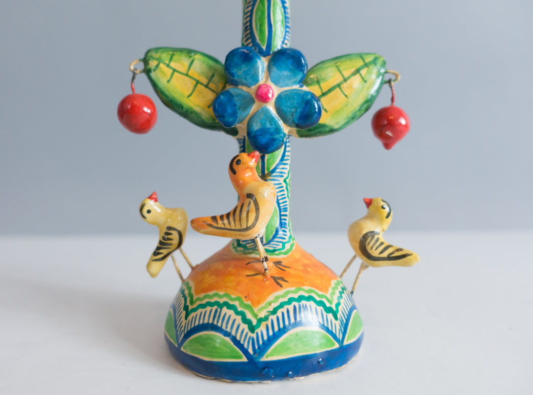 Vintage Mexican Folk Art Candle Holder