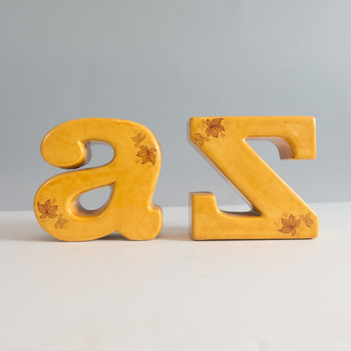 Vintage Yellow A to Z Ceramic Bookends