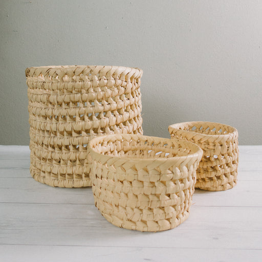 Set of Three Vintage Woven Grass Basket Planters
