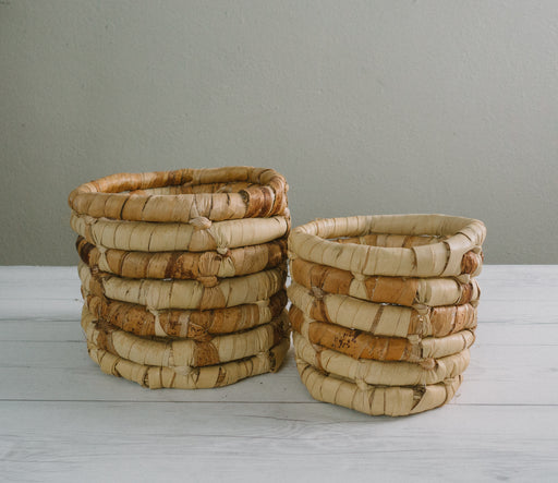 Set of Two Vintage Woven Banana Leaf Basket Planters