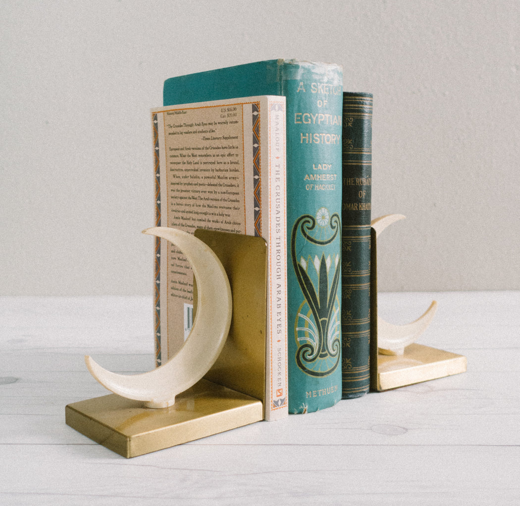 Art Deco Crescent Moon Bookends by Walter von Nessen for Chase