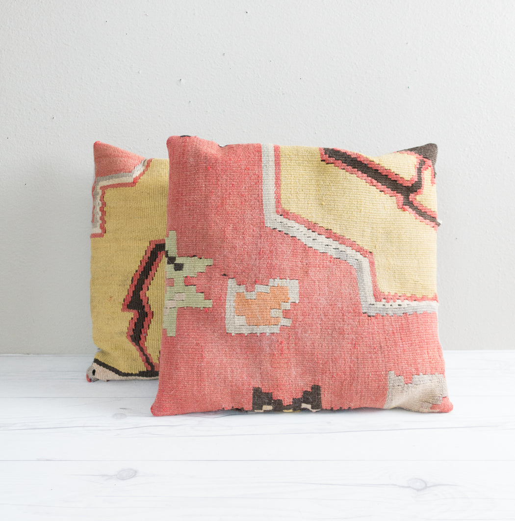 Set of Two Vintage Turkish Kilim Pillow Covers
