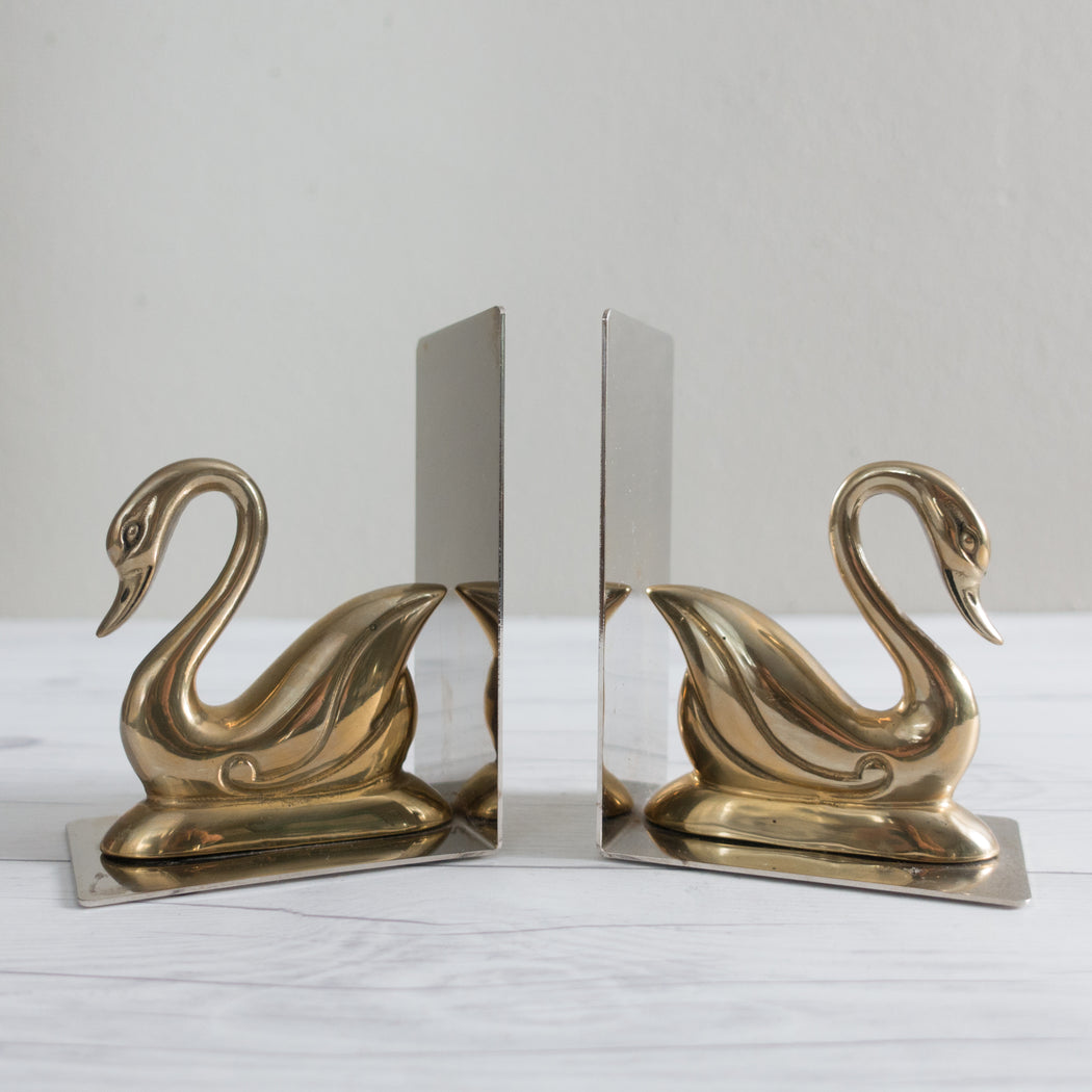 Vintage Chrome and Brass Swan Bookends