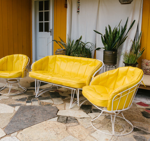 FREE SHIPPING Vintage Homecrest Yellow Patio Furniture | Mid Century Outdoor Glider Sofa and Rocking Chairs
