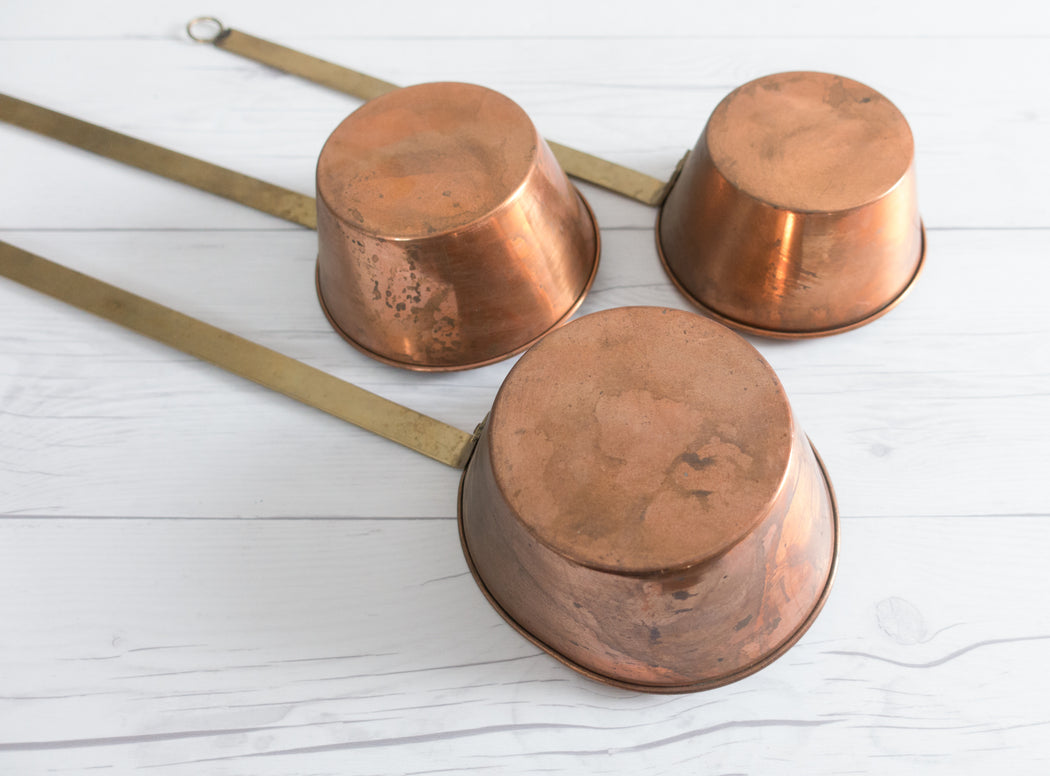 Set of 3 Vintage Copper Spoons