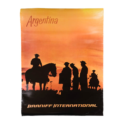 Vintage Argentina Travel Poster Original Braniff International Airways