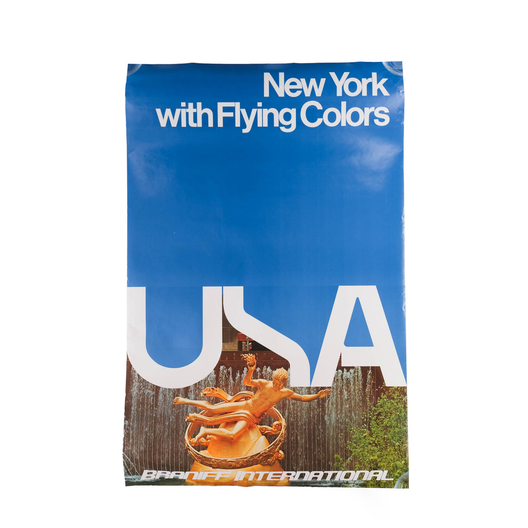 Vintage New York Travel Poster Original Braniff International Airways