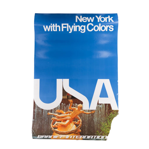 Vintage - TORN - New York Travel Poster Original Braniff International Airways