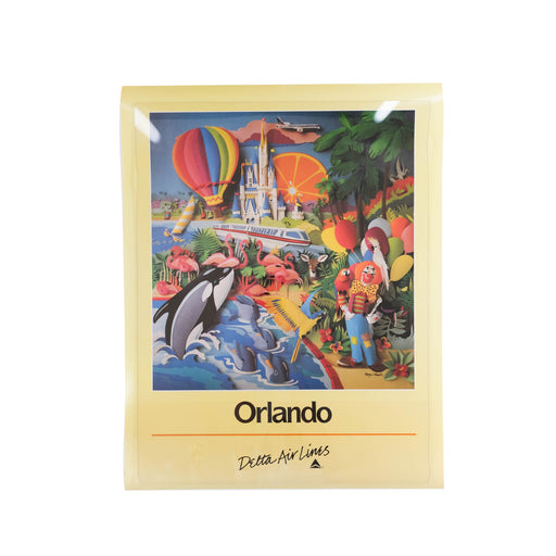 Vintage Orlando Travel Poster Original Delta Airlines