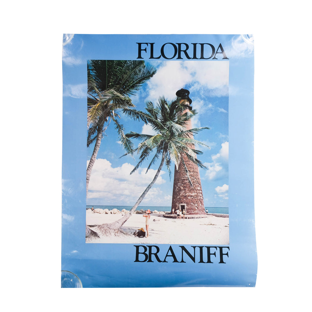 Vintage Florida Travel Poster Original Braniff International Airways