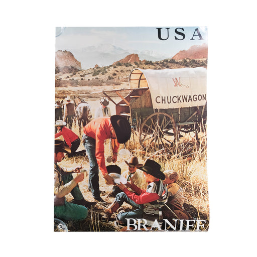 Vintage USA Chuckwagon Travel Poster Original Braniff International Airways