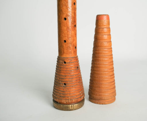Antique Wooden Spool Bobbin Candle Holders