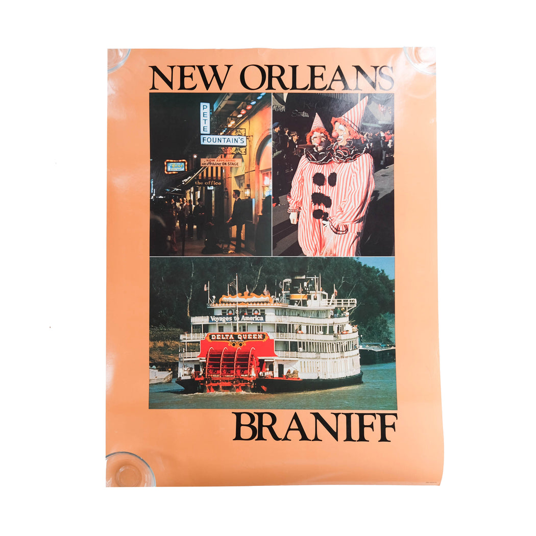 Vintage New Orleans Travel Poster Original Braniff International Airways