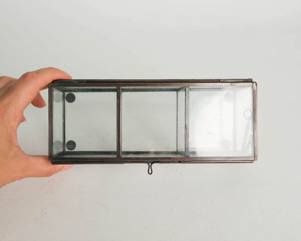 Vintage Glass Display Box with Three Compartments