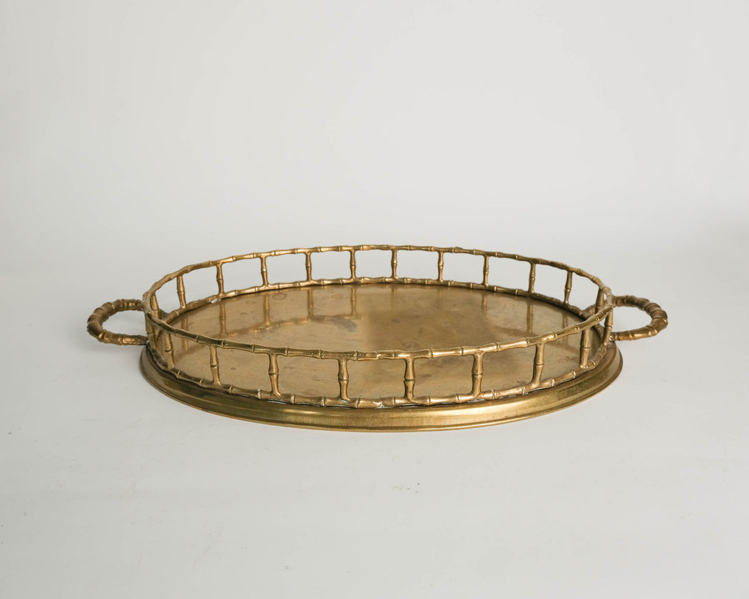 "21"" Oval Brass Serving Tray"
