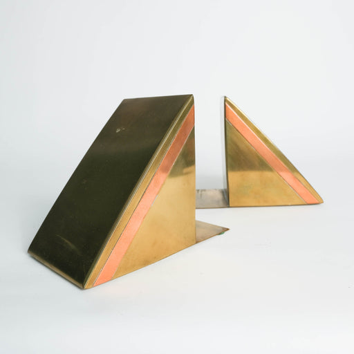 Vintage Brass Triangle Bookends