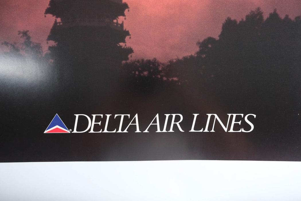 Vintage Taipei Travel Poster Original Delta Airlines